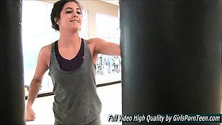 Natalie fingers very sexy petite gym