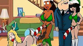Famous cartoons Xmas orgy