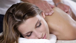 Elegant Victoria Daniels finally gets more than a massage