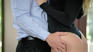 Blonde secretary gets her big butt spanked by boss