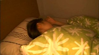 Sleeping Asian cutie Mika Kubota takes rest in bed on webcam