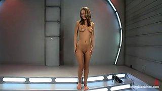 pussy pounding machine bangs oiled babe