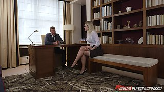 Office slut with incredible fake tits is great at fucking