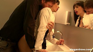 Sex-hungry dude fuck sexy French babe Ava Courcelles in the public toilet