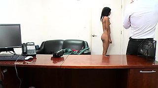 Ravishing brunette maid Isabella Pena enjoys sex