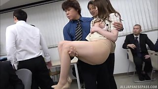Bending Amane Shizuka over for some passionate pussy drilling