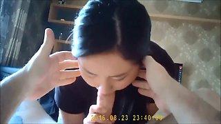Korean milf gives head
