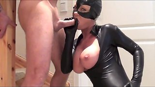 slut dressed as kitty in latex catsuit fucked creampie