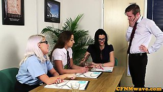 Business cfnm babes blowing at the office