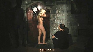 Blonde slavegirls walked in leash for dungeon for exploit