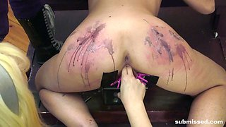 Blonde slut Goddess Starla abused with hot wax and a big cock
