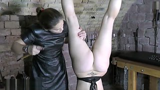 Mature mistress breaking stubborn slave. Very rough spanking/paddling.