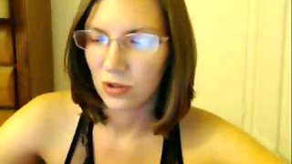 Pregnant babe in glasses shows her sexy ass on webcam
