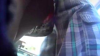 Bus upskirt on short dress
