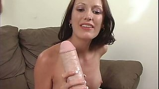 Dark haired too voracious for joy chick sucks huge dildo with passion