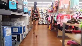 Daring girl - Mini dress upskirt at mall