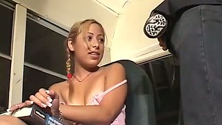 Wanton blond haired Asian teen sucks smelly sausage of white mature dawg in bus