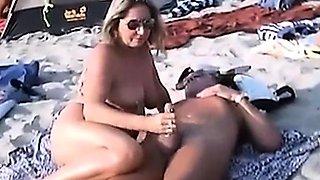 Nude Beach - Public Handjobs with Pierced Nipples