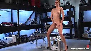 horny hottie has various orgasms fucking machines