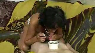 My skinny friend pleasing and fucking mature brunette