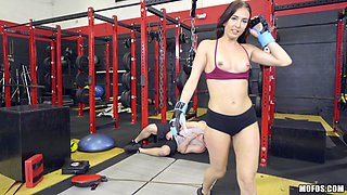Great shagging session with cock craving Aubrey is a gym
