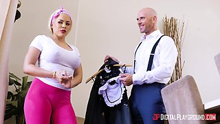 Luna Star is a cute maid seduced by a cunt craving lover