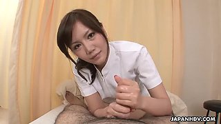 Asian nurse receives a mouthful from her patient's hard bone