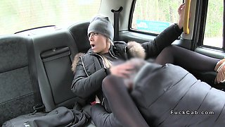 Huge tits beauty in pantyhose bangs in cab