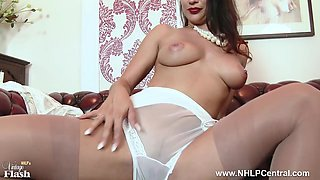 Brunette big tits wanks in nylon lingerie heels