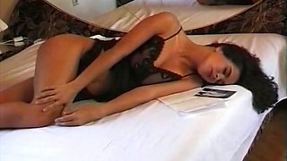Alluring beauty with perfect shapes masturbates and moans with joy