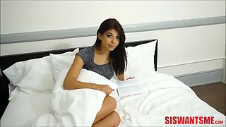 hot teen stepsister helps her brother with his raging boner