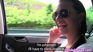 Amateur european lezzies fingering in the car