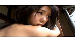 Tasty looking Japanese babe Saori Yoshikawa crawls on the floor in tiny bikini