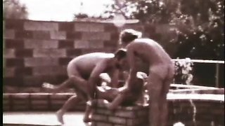 Blonde babe gets her hairy muff double teamed in vintage porn scene