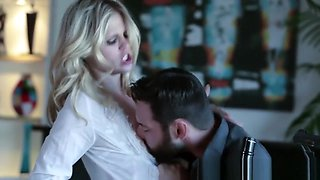 Blonde glamour babe tied up and face fucked