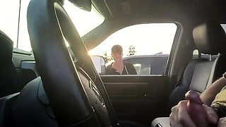 Naughty amateur babe watches a guy jerking off in the car