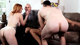 Britney Amber and Lauren Phillips take turns on a cock and share cum