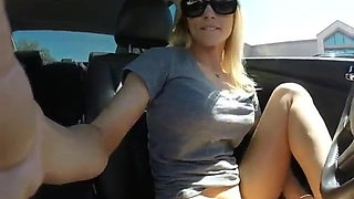 Hot blonde masturbate with dildo in car and Squirt