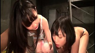 Two petite Japanese schoolgirls getting used by an older guy