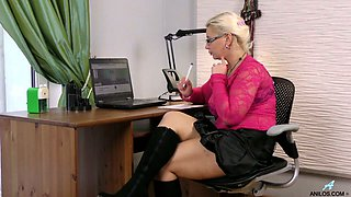 Blond haired busty secretary Luba Love feels awesome while masturbating