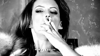 Sexy Brunette Smoking