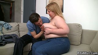 Huge titted plumper swallows my horny cock