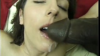 Pale bodied brunette temptress sucks black monster cock