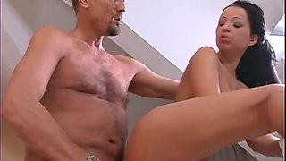 Cum-thirsty brunette gives handjob and blowjob to horny elder dude