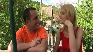 Skinny Blonde Teen loves the feel of her Step dad