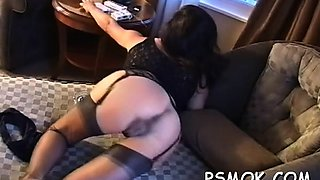 Sweetheart in sexy underware likes to tease while smoking