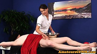 Fully clothed masseuse sucks patients cock
