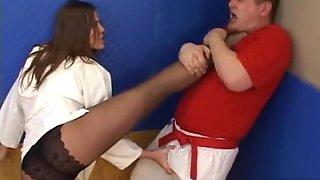 Brunette pantyhose fight
