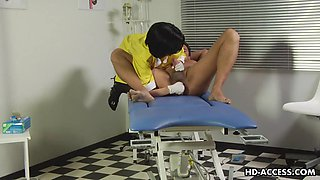 kinky nurse sucking him off while fingering and dildoing his ass