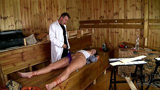 Salty patient gets tied with rope and fucked hard with vibrator